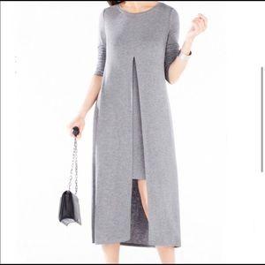 BCBGMAXAZRIA Gray Front Slit Midi Dress